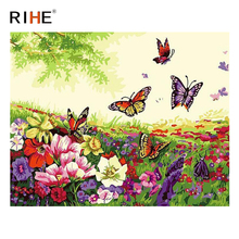 RIHE Flower Land Diy Painting By Numbers Butterfly Oil Cuadros Decoracion Acrylic Paint On Canvas Modern Wall Art 2018