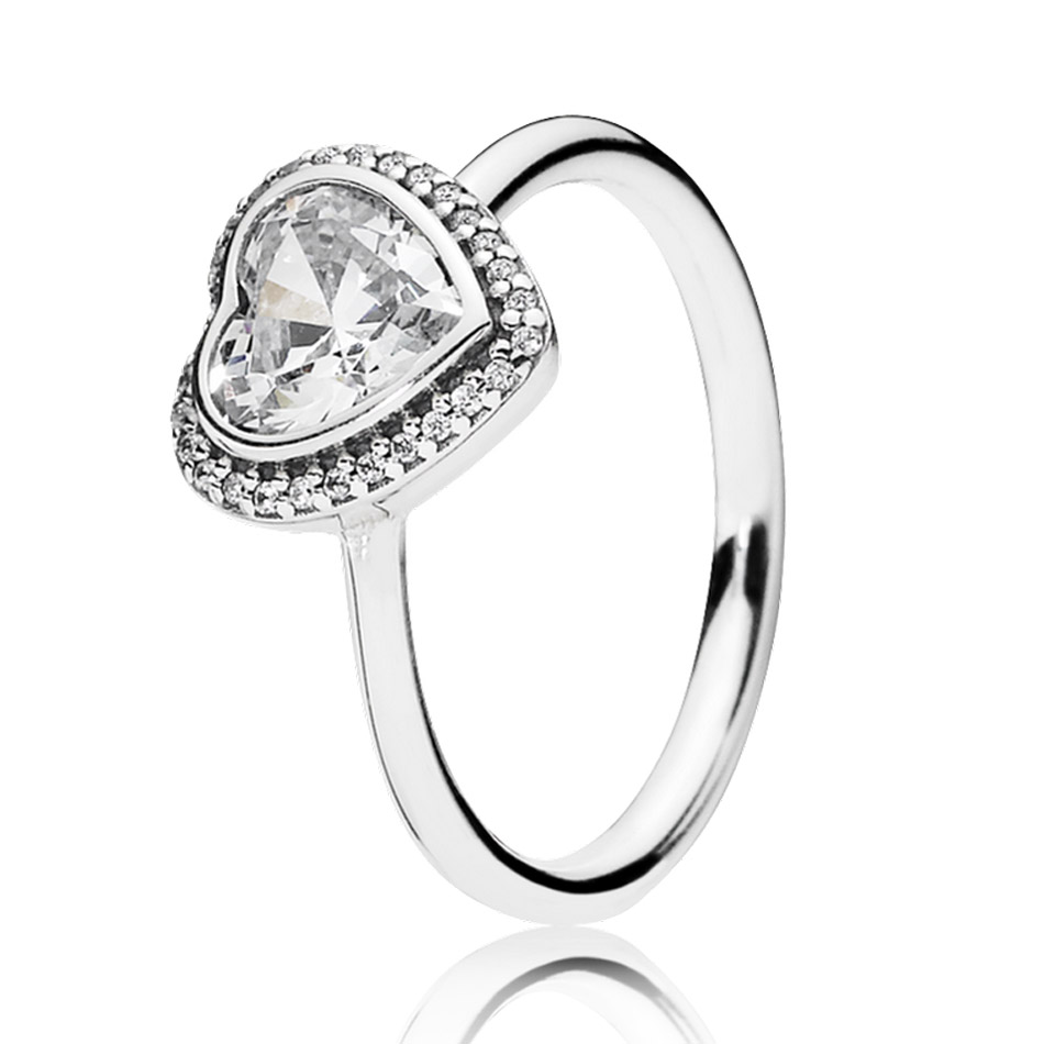 30% Silver Ring for Women Sparkling Love Heart Ring Clear CZ Wedding Gift Finger Anel fit Lady Fine Jewelry