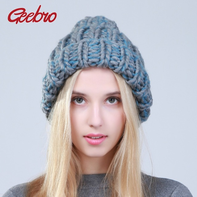 Geebro 2019 Female Winter Warm Mixed Color Beanies Handmade Thick Stick Knitted Coarse Lines Hat Crochet Women Lovely Caps