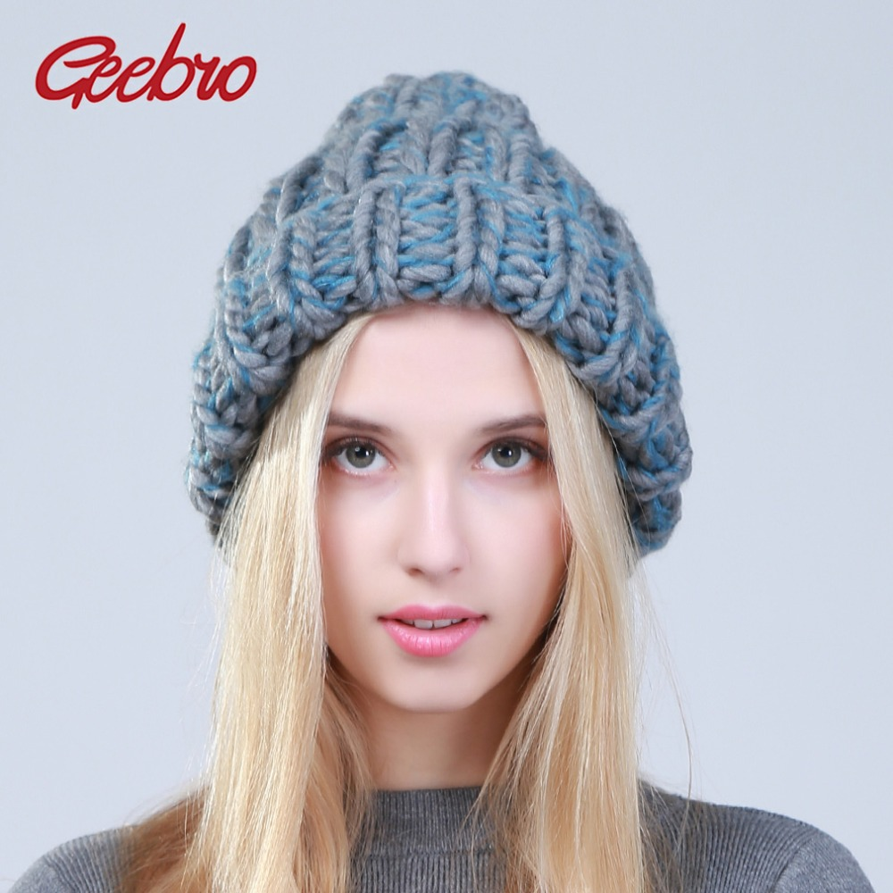 Geebro 2017 Female Winter Warm Mixed Color   Beanies   Handmade Thick Stick Knitted Coarse Lines Hat Crochet Women Lovely Caps