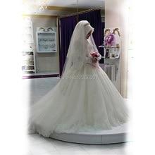 S440 2016 High Neck Long Sleeves Wedding Dresses Muslim Applique Chapel Train Bridal Wedding Gowns robes de maree Islamic Arabic