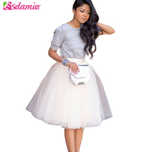S-5XL Oversized Womens Tulle Skirts 6 Layers Puffy Tutu Skirt Women High Waist Maxi Skirt Female Adult Princess Skirt Saia Longa