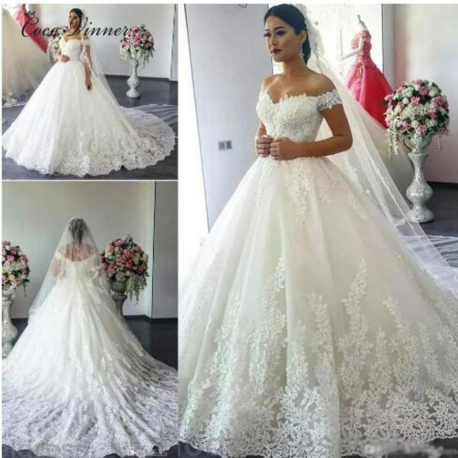 Leaves Embridery Arab Wedding Dress 2019 Cap Sleeve Plus size Vintage Wedding Gowns Court Train Princess