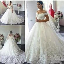Feuilles broderie robe de mariée arabe 2019 Cap manches grande taille Vintage robes de mariée Court Train princesse robes de mariée W0032