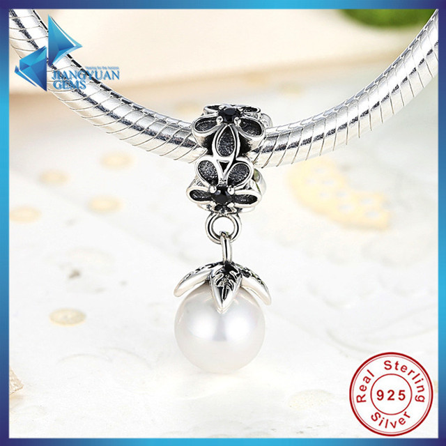 Hot Sell 100% 925 Sterling Silver Daisy Flower with Pearl Pendant Fit Original Bracelet DIY Accessories Jewelry