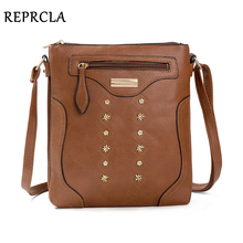 цена на REPRCLA New Double Layer Shoulder Bag High Quality PU Leather Women Messenger Bags Designer Handbags Crossbody Bags for Women