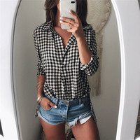 Women Sweet Ruffles Plaid Pleated Shirts Polyester Long Sleeve V Neck Checked Blouse Ladies Summer Casual