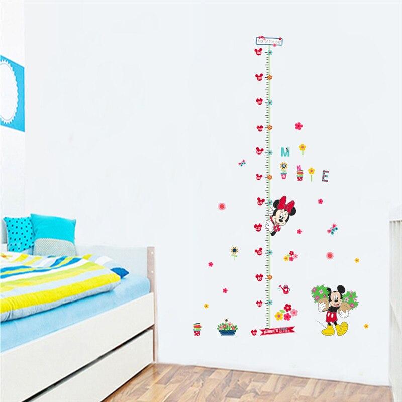Calcomanías de pared de dibujos animados ratón de película Minnie niños altura de medida para habitaciones de niños decoración pvc adesivos de parede diy pegatinas de pared