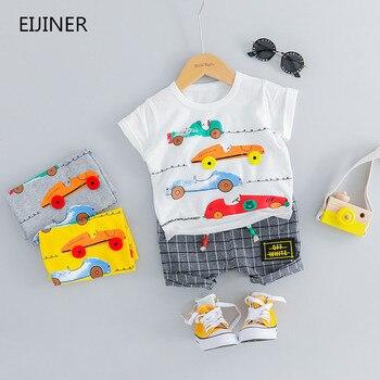 ced2a856c 2019 nuevo bebé niños niñas ropa de verano de algodón de moda conjunto  impreso deportes traje para niño camiseta + Pantalones cortos Children'S  ropa