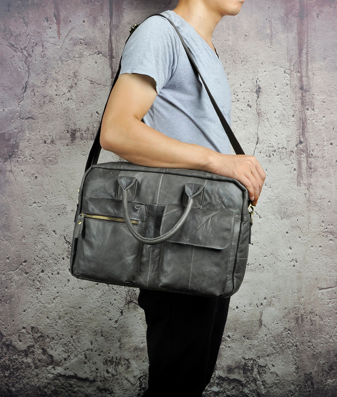 """الرجال نوعية الجلود سفر الأعمال حقيبة 16 """"كمبيوتر محمول حالة المهنية التنفيذي محفظة المنظم رسول حقيبة B331g-في حقائب جلدية من حقائب وأمتعة على  مجموعة 3"""