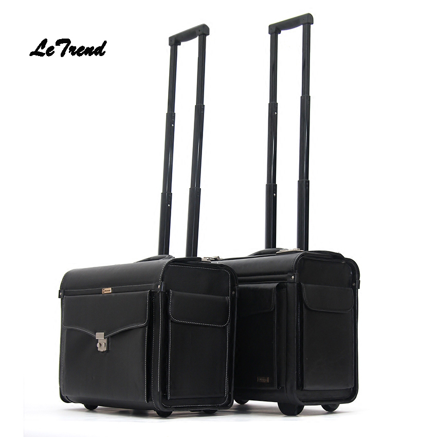 купить Letrend Pilot Rolling Luggage Casters 18 inch Business Carry On Trolley Women Wheels Suitcases Captain PU Travel Bag Men Trunk по цене 7626.72 рублей