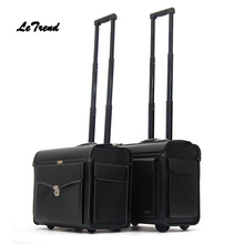 Letrend Pilot Rolling Luggage Casters 18 inch Business Carry On Trolley Women Wheels Suitcases Captain PU Travel Bag Men Trunk