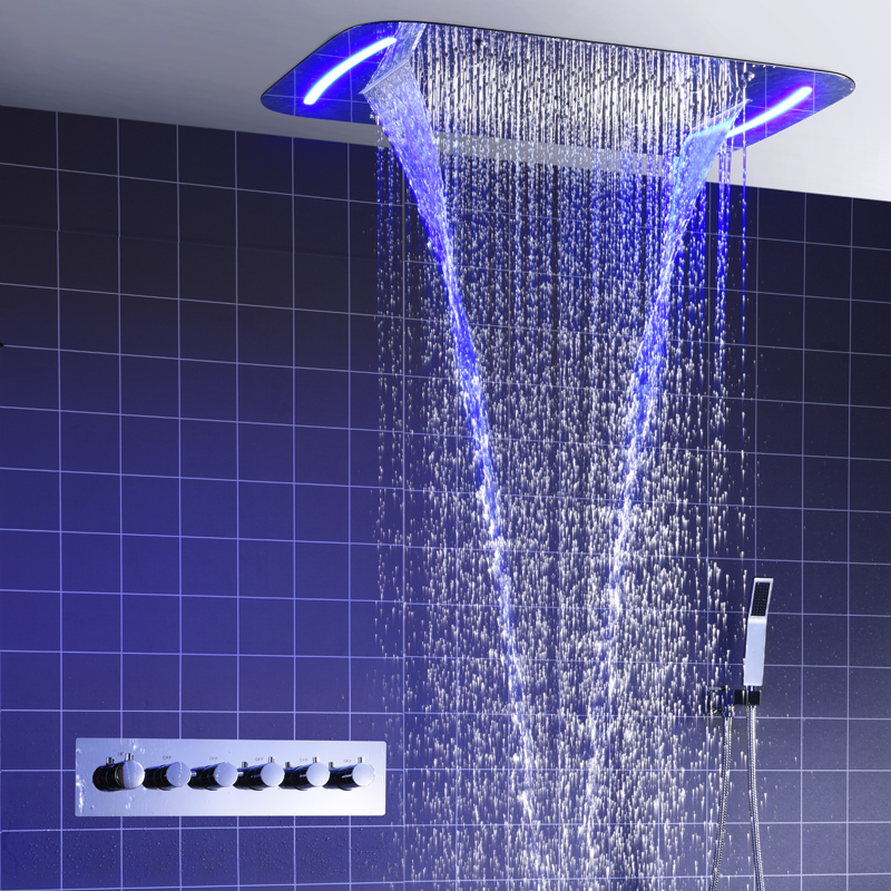 Thermostatic Shower Set Bathroom Electric LED Shower Concealed Rainfall Shower System Massage Water Mist Big Faucets