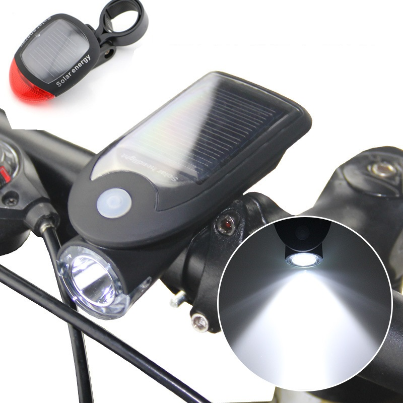 USB Rechargeable Solar Power LED Bike front Light MTB Bicycle Headlight Lamp Solar Energy Rear Light Taillight