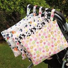 Детские коляски сумку Многоразовые Ткань пеленки Мешок Моющиеся водонепроницаемые сумки с Двумя Молнии Мокрый Мешок