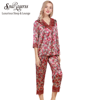 SpaRogerss New Luxurious Women Pajama Sets 2017 Brand Sale Ladies Pajamas Pants 2 Pcs Set Summer Faux Silk Female Pajamas TZ339 pajamas