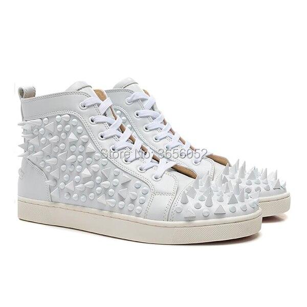 Shooegle Designer Zapatillas Hombre décontracté Rivet clouté plat en cuir chaussures homme formateurs croix attaché haut à pointes baskets hommes - 4