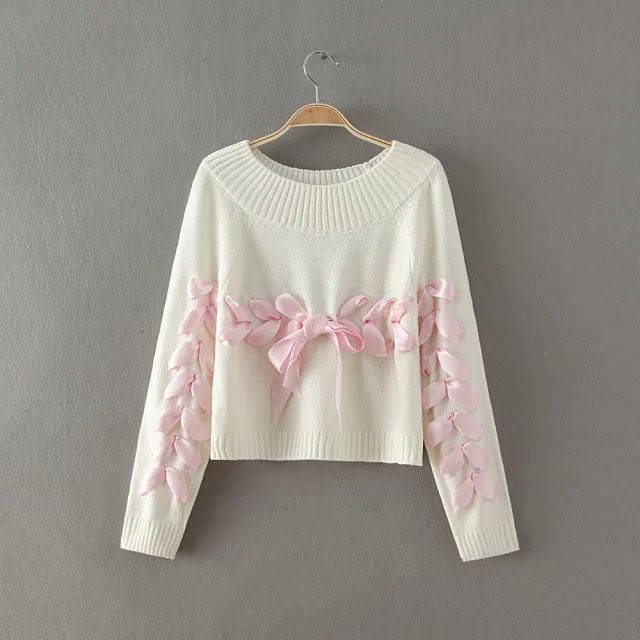 fashion women bow ribbon sweater young woman loose soft knitting sweaters  jumpers teenager lady sweater clothes c91f660fd