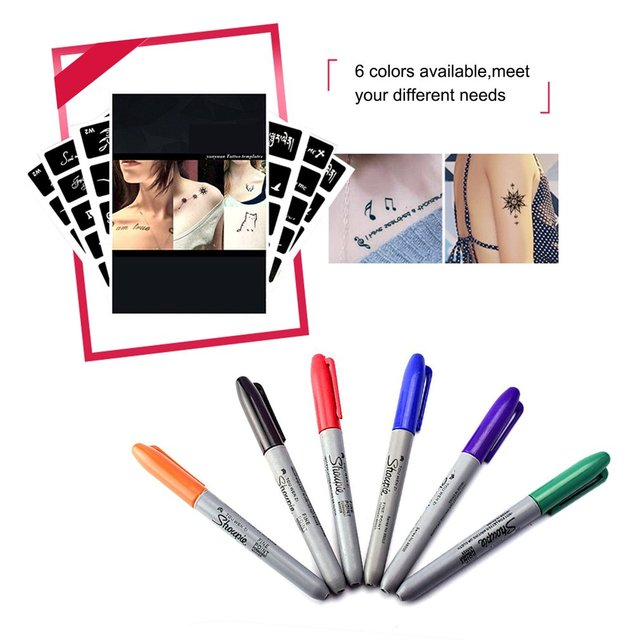 Us 3 05 6pcs Set 6 Colors Tattoo Pen Permanent Markers Wonderful Eco Friendly Marker Pen Sharpie Fine Point Permanent Marker In Tattoo Inks From