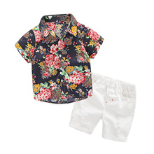 Kimocat Baby Boy Clothes Gentleman Short Sleeve Formal Suit For Boy Print Shirt + Causal Pants Kid Clothes Children Clothing