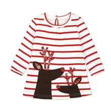 2017 Baby Christmas Dress Red White Stripe Cotton Children Girl Christmas Dress Baby First Xmas Day Outfit Baby Clothes