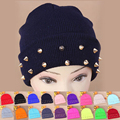 2016 Autumn Winter Women Knitted Hat Female Jelly Hat rock Rivets Wrap Gorro Beanies Warm Cap Many Colors