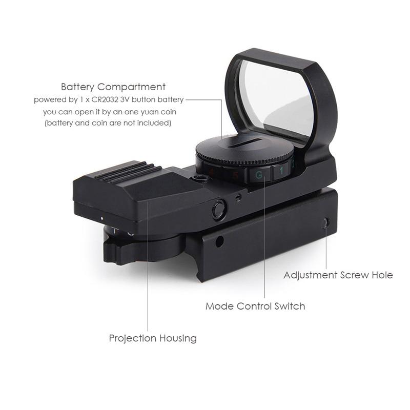 Ferrocarril Óptica Alcance Riflescope Caza Airsoft Holográfica Reflex Red Dot Si