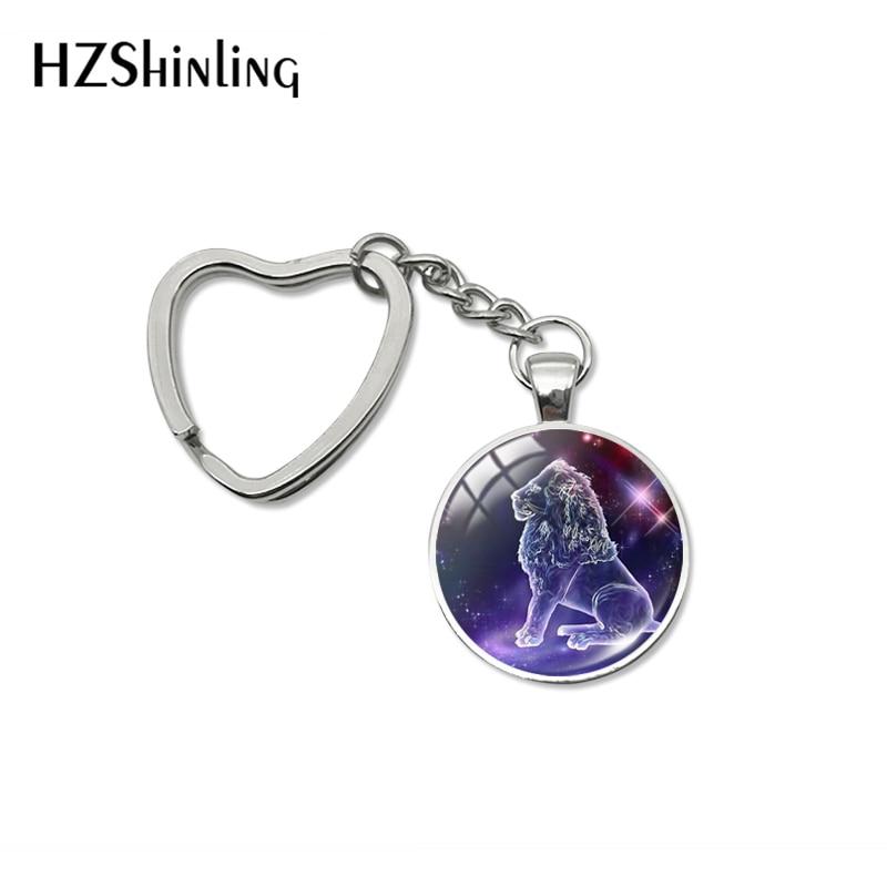 2019 New Fashion Galaxy 12 Horoscope Keychain Scorpio Sagittarius Aquarius Heart Keyrings Glass Dome Zodiac Jewelry Gifts