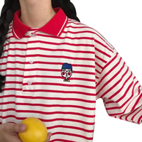 Spring Summer Women Korean Style Embroidery Cartoon T Shirts Casual Harajuku Stripe Loose Short Sleeve T