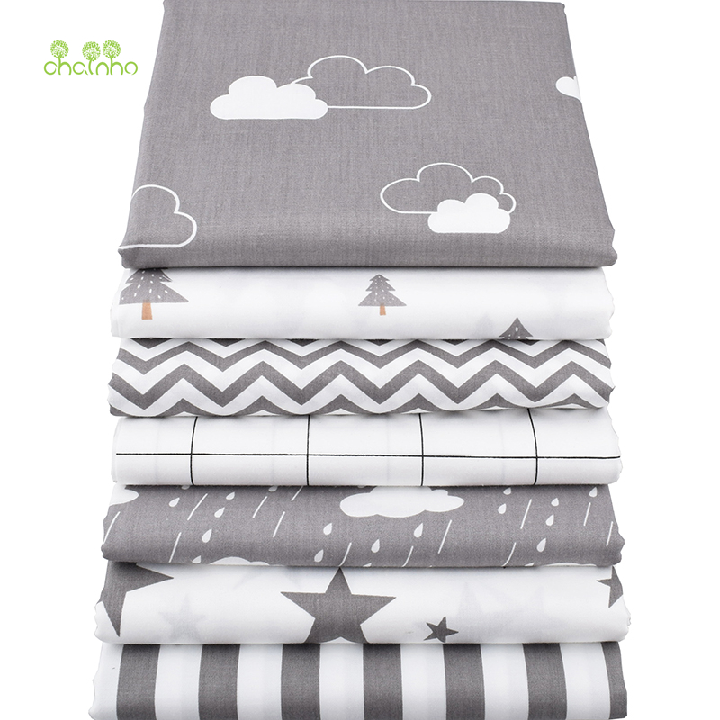 Chainho Twill Cotton Fabric,Patchwork Gray Tissue Cloth,DIY Sewing Quilting Fat Quarters Material For Baby&Children,7pcs/lot