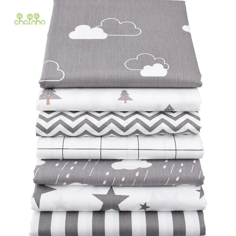 Tela de algodón de sarga de Chainho, tela de tejido gris de retazos, Material de costura DIY para acolchar cuartos de grasa para bebés y niños, 7 unids/lote