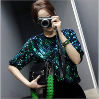 Summer Women Sequin T Shirt Half Sleeve O Neck Loose Ladies Casual Tops tshirt Camisetas Mujer