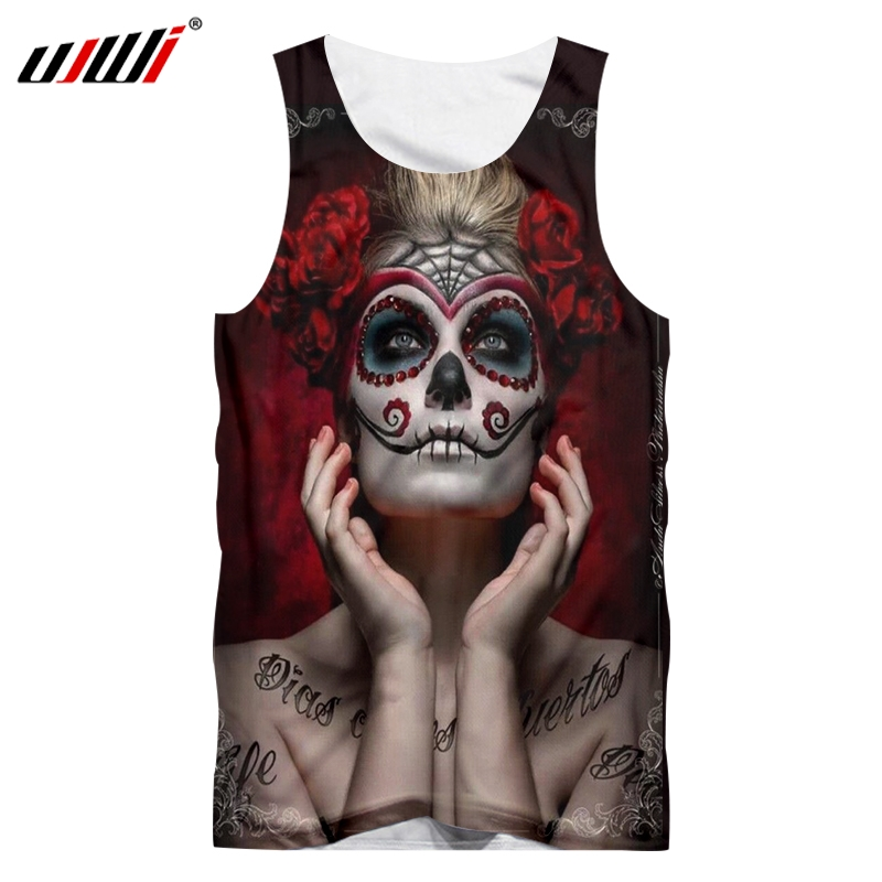 UJWI Tank Tops Male Fashion Personality 3D Vest Printed Mask Lady Hip Hop 5XL Costuming Unisex Spring Sleeveless Shirt