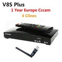 1 Año Europa Servidor Cccam 4 Clinales V8 Plus DVB-S2 Satélite MPEG4 receptor 1080 P Full HD Sintonizador de TV Digital Receptor vs V8 Super