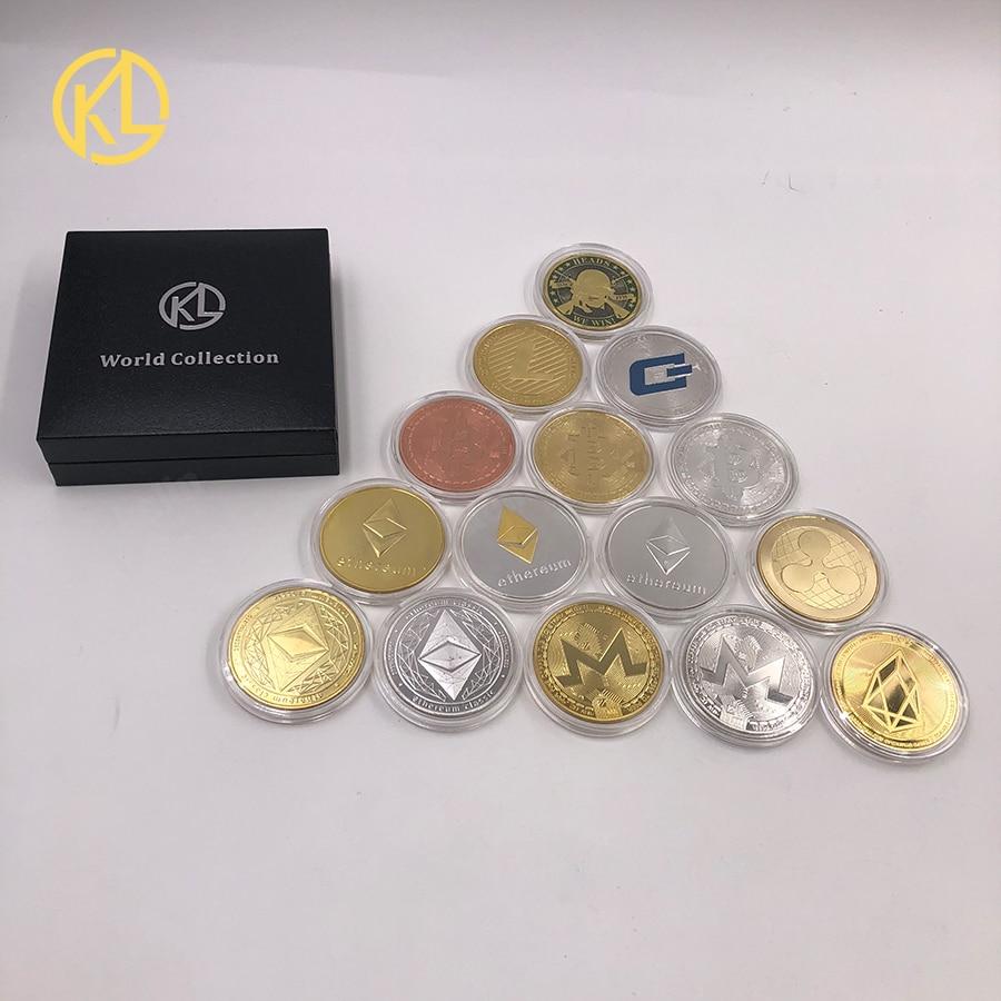 Биткоин/эфириум/литекоин/тире/пульсация/криппи/EOS монета 18, физический металлический Серебряный/позолоченный памятный монета Биткоин