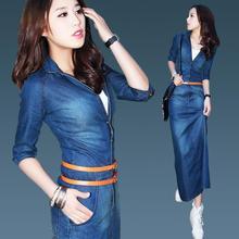 Brand New Vintage Fashion Women's Casual Denim Jeans Dresses Ladies Spring Plus Size Striped Jeans Slim Dress One-piece Vestidos
