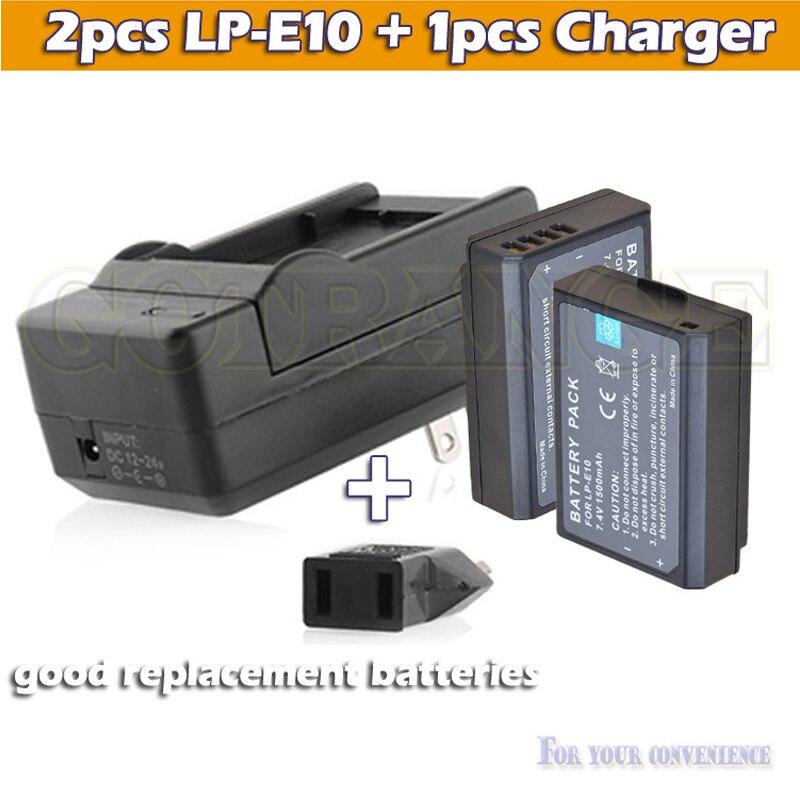 2 x 1500 мАч lpe10 LP-E10 LP E10 аккумулятор камеры аккумулятор + зарядное устройство для Canon EOS 1100D 1200D повстанцев T3 поцелуй X50 зеркальная