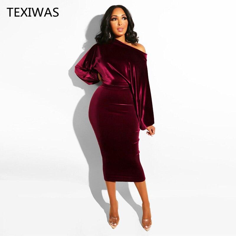 TEXIWAS Spring Puff Sleeve Velvet party Dress 2019 Female Off-Shoulder Bodycon dress Women Elegant Office lady Business dress
