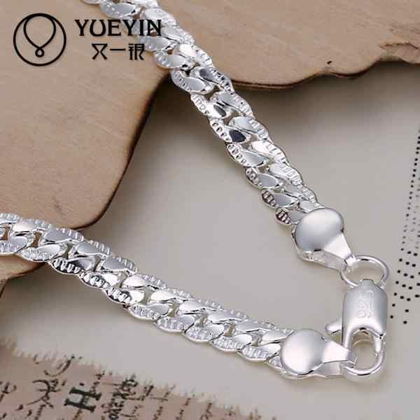 Argento placcato braccialetto per le donne Gli uomini Amanti Unisex d'argento Monili di cerimonia nuziale di fidanzamento Femminile