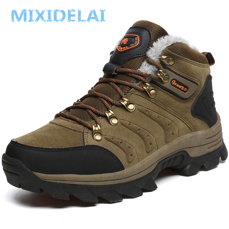 MIXIDELAI 2018 New Men Boots for Men Winter Snow Boots Warm Fur&Plush Lace Up High Top Fashion Men Shoes Outdoor Sneakers Boots встраиваемый светильник novotech caramel 369372