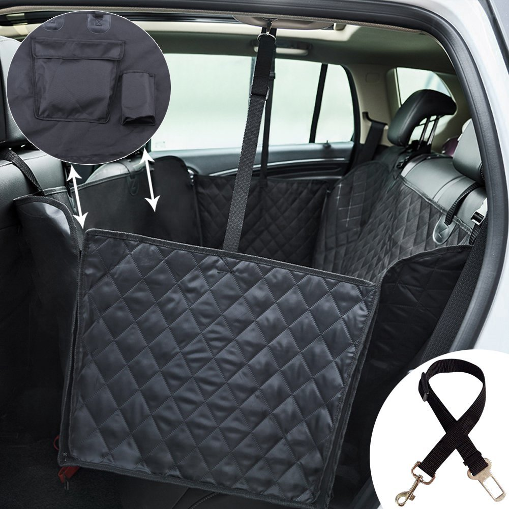 2018 Quilted Dog Car Seat Cover For Pets Pocket Waterproof