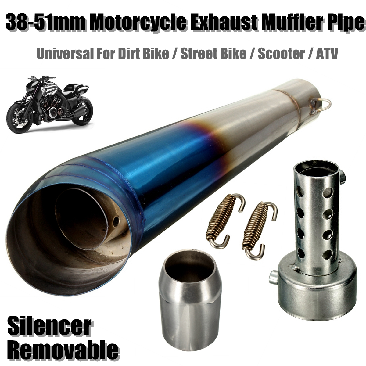 51mm Blue Motorcycle Scooter Stainless Steel Exhaust Muffler Pipe Tip Slip for Street Bike for Dirt Bike for Honda for Yamaha motorcycle gp exhaust universal muffler 38 51mm slip on for dirt bike street bike scooter atv quad new