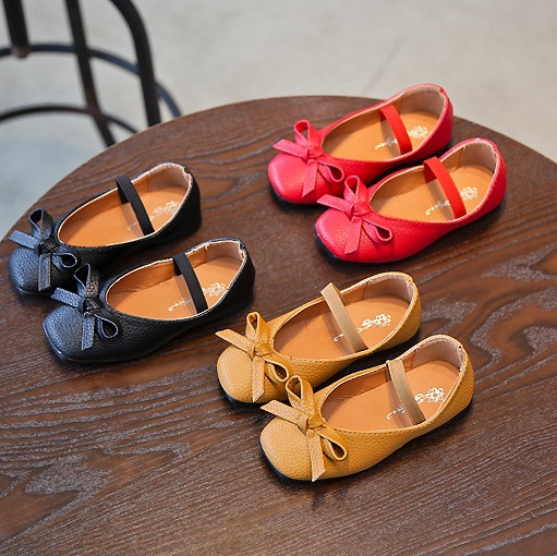 Bowtie Girls Leather Shoes 2018 New Korean Spring And Autumn Soft Bottom Children Single Shoes Flat Princess Shoes