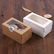 5pcs cupcake paper packaging 2 Cup Cake Holders White Brown kraft paper cake box window Gift Packaging Wedding home party цена и фото