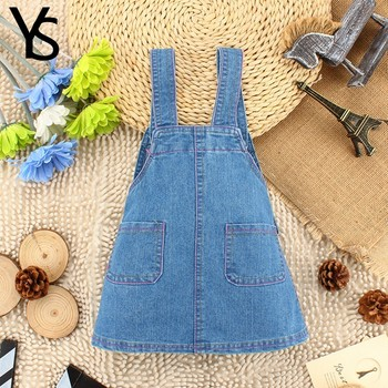 1-4T Summer Autumn Baby Girls Denim Overalls Kids Children Cotton Denim Jeans Dress Cute Outwear Sweat Toddlers Shorts Clothing