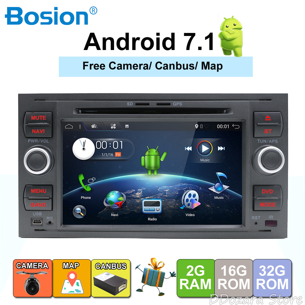 2 din Android 7.1/8.1 Quad Core Car DVD Player GPS Navi for FORD FOCUS/MONDEO/C MAX Audio Radio Stereo Head Unit Free Canbus