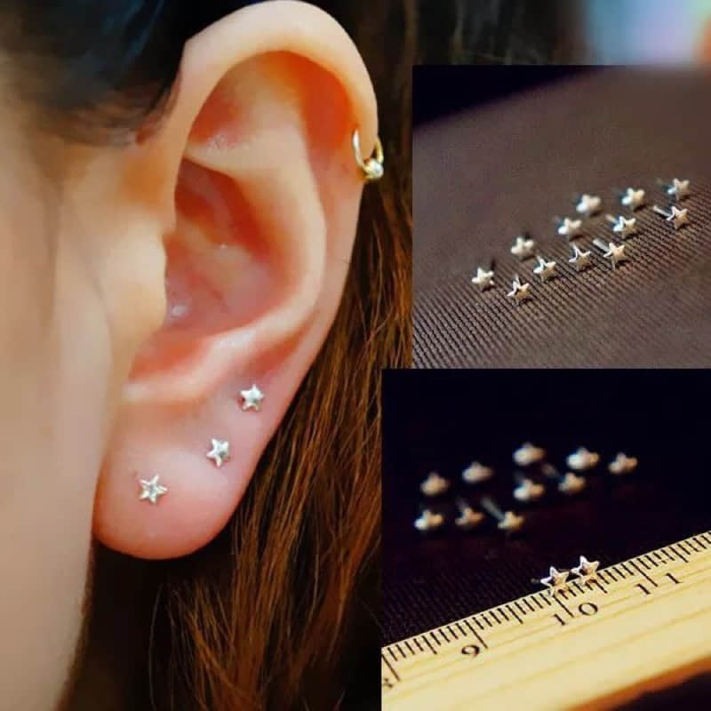 925 Sterling Silver Earrings Star Moon Charm Punk Small Earrings For Women Gold  Fashion Jewelry Brincos 2020 Christmas Gifts
