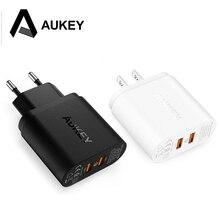Для Qualcomm сертифицированных aukey Quick Charge QC 2.0 2 порта 36 Вт USB Turbo быстро стены Зарядное устройство для Samsung Sony HTC LG и больше телефонов PC