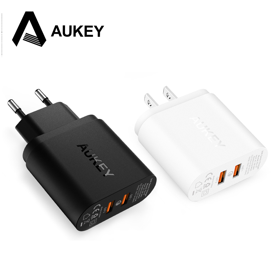 Para QUALCOMM Certified aukey carga rápida QC 2.0 2 puertos 36 w USB Turbo cargador rápido de pared para Samsung Sony HTC LG y más teléfonos PC