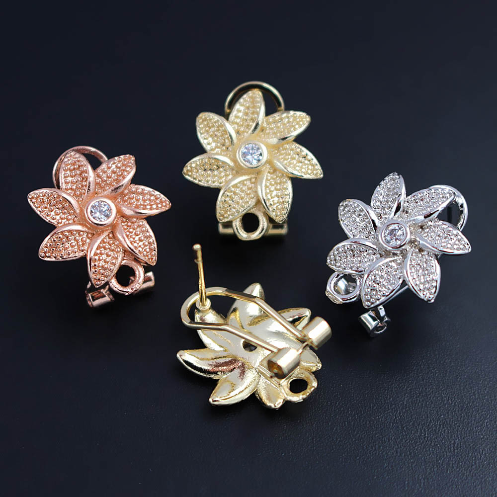 Micro Paved CZ Cubic Zircon Earrings Post Clip Back with Hanger Connectors Flower Findings DIY for